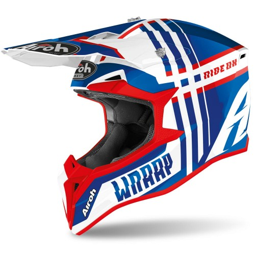 Kask Airoh WRAAP BROKEN BLUE/RED GLOSS